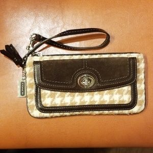Coach Houndstooth Turnlock Brown Suede Wristlet